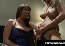 'Блондинка Порнозвезда Puma швед показывает вверх с пиццей усилителя страпон'