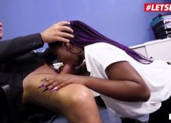 BumsBuero Sunny Star: толстая чернокожая кенийская крошка жестко трахается в киску с большим членом босса LETSDOEIT