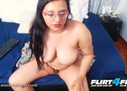 'Flirt4Free Дайана Бейкер толстушки латинка фаллоимитатор играет во время игры с сиськами'