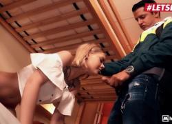 'HornyHostel Emily Cutie - сексуальная украинская блондинка наслаждается жестким трахом в киску со своим соседом по комнате LETSDOEIT'