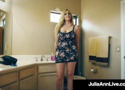 Красивая грудастая мамочка Julia Ann Pleasures Твердый пульсирующий член Lucky Fan с твердым членом