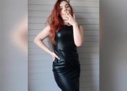 Курение в мокром кожаном платье