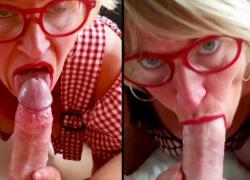 'Подтянутая пожилая женщина любит сосать большой молодой член, разделенный экран'