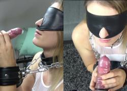 Связанный усилитель с завязанными глазами мамаша дает EPIC EDGING презерватив Handjob и ENJOYS